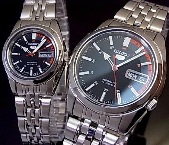 SEIKO/SEIKO5【セイコー5/セイコーファイブ】ペアウォッチ 自動巻腕時計 メタルベルト ブラック文字盤 MADE IN JAPAN セイコーファイブ SNK375J1/SYMA43J1 (海外モデル)