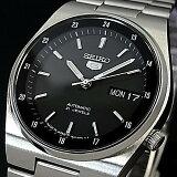 SEIKO/SEIKO5【セイコー5/セイコーファイブ】自動巻 メンズ腕時計 メタルベルト ブラック文字盤 MADE IN JAPAN セイコーファイブ SNXM19J5 (海外モデル)