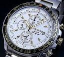 SEIKO/セイコー【パイロット】アラームクロノグラフ メンズ ソーラー腕時計 メタルベルト ホワイト/ゴールド文字盤 SSC011P1 海外モデル【楽ギフ_包装選択】【YDKG-k】