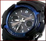 CASIO/G-SHOCK【カシオ/Gショック】ソーラー電波腕時計 アナデジモデル ブラック×ブルー(海外モデル)AWG-M100A-1A