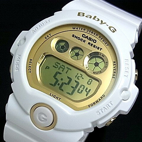 CASIO/Baby-G【カシオ/ベビーG】BG-6900シリーズ レディース腕時計 ホワイト/ゴールド BG-6901-7JF(国内正規品) ★2012年9月新作★BG-6900 Series