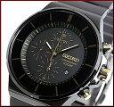 SEIKO/Chronograph【セイコー/クロノグラフ】メンズ腕時計 ブラックメタルベルト ブラック/ゴールド文字盤 SNDD57P1 海外モデル 【02P...