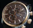 SEIKO/Alarm Chronograph【セイコー/アラームクロノグラフ】メンズ腕時計 ピンクゴールドベゼル ブラウンレザーベルト ブラウン文字盤 SNAF52P1 海外モデル【並行輸入品】