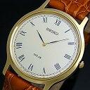 SEIKO/ソーラー時計【セイコー】メンズ腕時計 ゴールドケース ブラウンレザーベルト アイボリー文字盤 SUP876P1 海外モデル【02P03Dec16】