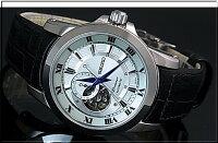 SEIKO/Premier【セイコー/プルミエ】自動巻メンズ腕時計ブラックレザーベルトシルバー文字盤MADEINJAPAN海外モデルSSA213J2
