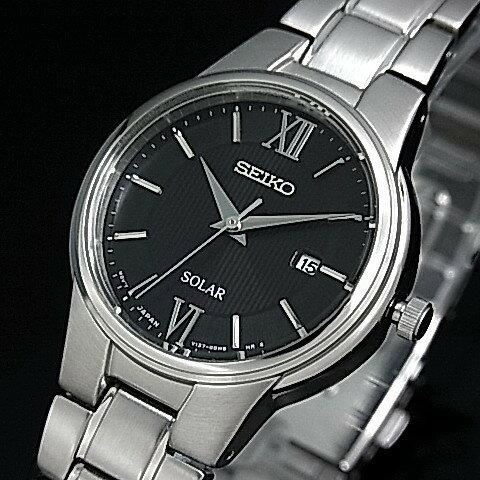 SEIKO/ソーラー時計【セイコー】レディース腕時計 メタルベルト ブラック文字盤 SUT229P1 海外モデル 太陽電池!電池交換不要!海外モデル!
