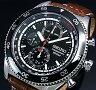 SEIKO/Chronograph【セイコー/クロノグラフ】メンズ腕時計 ブラックベゼル ブラウンレザーベルト ブラック文字盤 SNDG57P2 海外モデル【02P18Jun16】