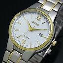 SEIKO/ソーラー時計【セイコー】レディース腕時計 コンビメタルベルト ホワイト文字盤 SUT230P1 海外モデル