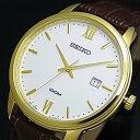 SEIKO/Quartz【セイコー/クォーツ】メンズ腕時計 ゴールドケース ブラウンレザーベルト ホワイト文字盤 SUR202P1 海外モデル【02P03Dec...