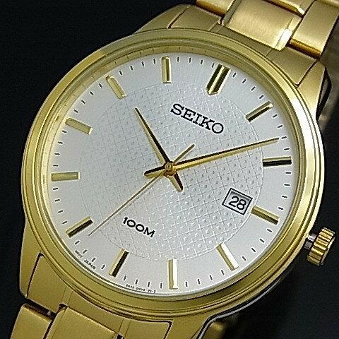 SEIKO/Quartz【セイコー/クォーツ】メンズ腕時計 ゴールドメタルベルト シルバー文字盤 SUR198P1 海外モデル 大人時計!SEIKO激レア海外モデル!