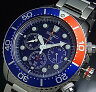 SEIKO/PROSPEX【セイコー/プロスペックス】メンズ DIVER'S/ダイバーズウォッチ クロノグラフ メンズ ソーラー腕時計 ネイビー/レッドベゼル メタルベルト ネイビー文字盤 SSC019P1 海外モデル