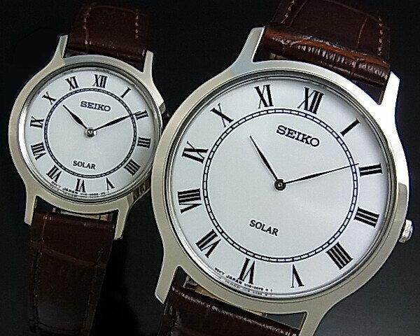 SEIKO/ソーラー時計【セイコー】ペアウォッチ 腕時計 ブラウンレザーベルト ホワイト文字盤 SUP869P1/SUP303P1 海外モデル【02P01Oct16】