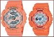 CASIO/G-SHOCK/Baby-G【カシオ/Gショック/ベビーG】ペアウォッチ アナデジ 腕時計 オレンジ(海外モデル)GA-110DN-4A/BA-110SN-4A【02P01Oct16】