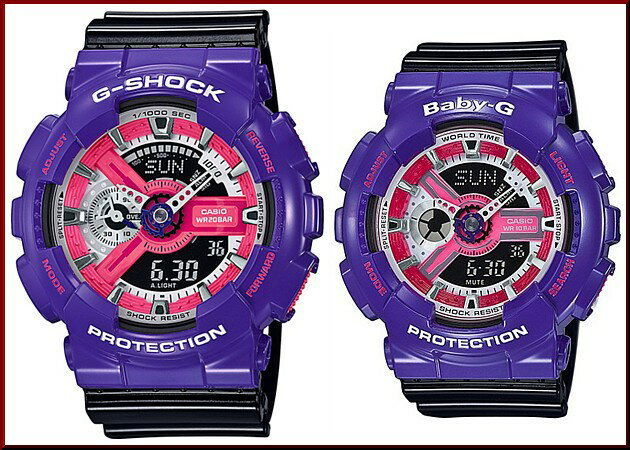 CASIO/G-SHOCK/Baby-G【カシオ/Gショック/ベビーG】ペアウォッチ アナデジ 腕時計 パ−プル/ブラック(海外モデル)GA-110NC-6A/BA-110NC-6A
