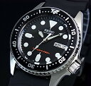 SEIKO/200m diver's watch【セイコー/200m防水ダイバーズ】自動巻 ボーイズ 腕時計 ブラックラバーベルト ブラック文字盤 海外モデル SKX013K