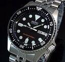 SEIKO/200m diver's watch【セイコー/200m防水ダイバーズ】自動巻 ボーイズ 腕時計 メタルベルト ブラック文字盤 海外モデル SKX013K2