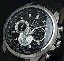 手錶 - SEIKO/Chronograph【セイコー/クロノグラフ】メンズ腕時計 ブラックレザーベルト ブラック文字盤 SSB249P1 海外モデル