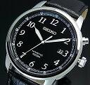 SEIKO/KINETIC【セイコー/キネテック】メンズ腕時計 ブラックレザーベルト ブラック文字盤 海外モデル【並行輸入品】SKA781P1