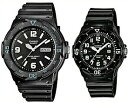 CASIO/Standard【カシオ/スタンダード】アナログクォーツ ペアウォッチ 腕時計 ラバーベルト ブラック 海外モデル【並行輸入品】MRW-200H-1B2/LRW-200H-1B