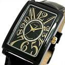 ALESSANDRA OLLA【アレサンドラ オーラ】メンズ腕時計 ブラック/ゴールド文字盤 ブラックレザーベルト【送料無料】AO-4500B-BG