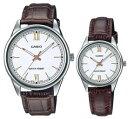 ショッピングチープカシオ CASIO/Standard【カシオ/スタンダード】ペアウォッチ 腕時計 ホワイト文字盤 ブラウンレザーベルト 海外モデル【並行輸入品】MTP-V005L-7B3/LTP-V005L-7B3