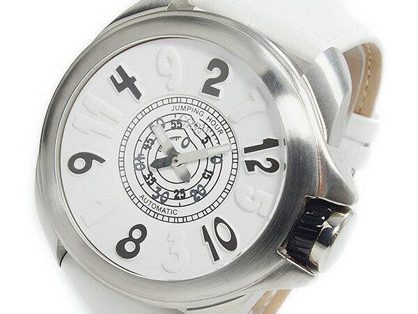 【送料無料】コグ COGU ジャンピングアワー 自動巻き 腕時計 JHR-WH cogu 腕時計 コグ ジャンピングアワー メンズ ホワイト ブラック 自動巻き レザー カジュアル ビジネス ギフトやプレゼントにも大人気贅沢
