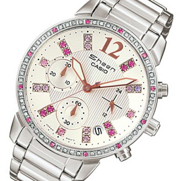 【送料無料】カシオ CASIO シーン SHEEN レディース クロノ 腕時計 SHN-5013D-7A ホワイト カシオ 腕時計 casio シーン SHEEN レディース ホワイト ピンク ビジネス カジュアル かわいい ファッション ギフトやプレゼントにも大人気