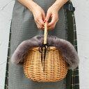 【セット販売】ファー バッグ カバー付き バスケット バッグ 取り外し可能【autumn_D1