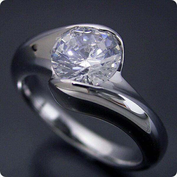 【婚約指輪】1カラット【1ct】ダイヤモンド【エンゲージリング】プラチナ【ブライダルジュエリー】結婚指輪【マリッジリング】受注生産品【1カラット版:流れるようなラインの伏せこみタイプの婚約指輪】Eカラー・VS1クラス・VeryGoodカット【宝石鑑別書付き】