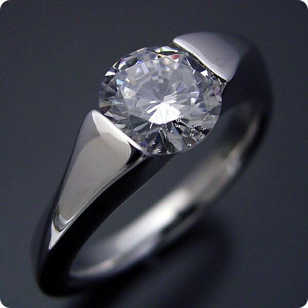 【婚約指輪】1カラット【1ct】ダイヤモンド【エンゲージリング】プラチナ【ブライダルジュエリー】結婚指輪【マリッジリング】受注生産品【1カラット版:もの凄くスタイリッシュなデザインの婚約指輪】Eカラー・VS1クラス・VeryGoodカット【宝石鑑定書付き】