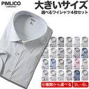 長袖ワイシャツ メンズ 大きいサイズ 送料無料 WEB限定 4枚セット 形態安定 Yシャツ ドレスシャツ レギュラーカラー ボタンダウン サカゼン 全6色 3L 4L 5L 6L PIMLICO 大きいサイズメンズのサカゼン ピムリコ