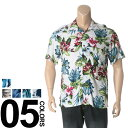 大きいサイズ メンズ B&T CLUB (ビーアンドティークラブ) レーヨン ボタニカル オープンカラー アロハシャツ [3L 4L 5L 6L 7L 8L 相当] サカゼン ビッグサイズ カジュアル トップス カジュアルシャツ 総柄 柄シャツ 半袖