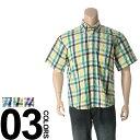大きいサイズ メンズ WOOD CUTTER (ウッドカッター) リップル チェック柄 ボタンダウン 半袖 シャツ [3L 4L 5L 6L 7L 8L 相当] サカゼン ビッグサイズ カジュアル トップス カジュアルシャツ 柄シャツ チェックシャツ