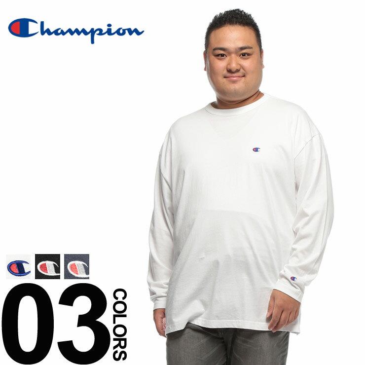 チャンピオン 長袖 Tシャツ 大きいサイズ メンズ ロンT 綿100% クルーネック ウォッシュ加工 ワンポイント ホワイト/ブラック/ネイビー 3L-5L Champion