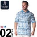ポロシャツ 半袖 大きいサイズ メンズ スクエア総柄 胸ロゴ オレンジ/ブルー 1XL 2XL 3XL Psycho Bunny