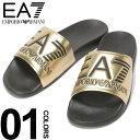 ショッピングアルマーニ アルマーニ サンダル EMPORIO ARMANI EA7 (エンポリオ アルマーニ イーエーセブン) ロゴ メタリック スライドサンダル GOLDブランド メンズ 男性 カジュアル ファッション 靴 シューズ シャワーサンダル 夏 レジャー EAXCP001XCC22