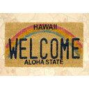 【送料無料】ハワイ Hawaii Welcome 玄関マット ココナツ コイヤーマット 長方形 虹 rich_カーペット_ラグ_マット_マット_boy