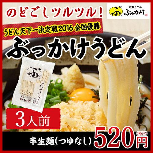 【倉敷うどん ぶっかけ】 半生麺(3人前:つゆなし)【 単品 常温 半生麺 】