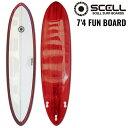 ファンボード 7'4 赤●サーフボード 【SCELL】 サー...