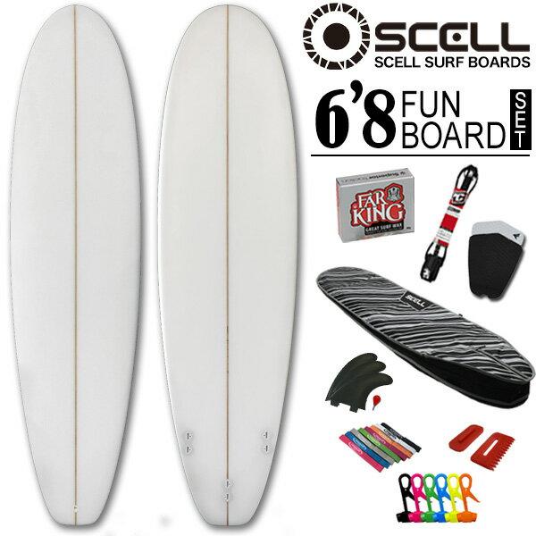 ◆激得◆ファンボード6'8 クリアセット●サーフボード【SCELL】 サーフィン 初心者7…...:bulls-surf:10062602