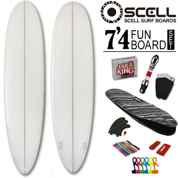 ◆激得◆ファンボード7'4 クリアセット●サーフボード【SCELL】 サーフィン 初心者7…...:bulls-surf:10062603