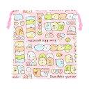 すみっコぐらし 巾着袋<きんちゃく> ピンク <小> su201pn-3 【disneyzone】