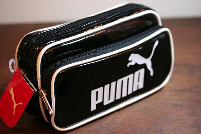 PUMA エナメルダブルペンケース(ブラック) 638PMBK [Jitsu160701A…...:bunbougu-shibuya:10011974