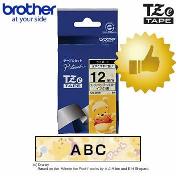 【12mm幅】ブラザー/ピータッチ用ディズニーテープ TZe-DH31 プーさん・ベビープーイエロー/黒文字(12mm幅・長さ5m)TZeテープ キャラクターテープ※TZ-DH31後継テープ【テープカートリッジ・brother】【入園・入学】【お名前付けに】【オフィスに】
