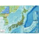 日本の地図と建造物や特産品、偉人などの資料が入ったオシャレなデザイン 日本地図下敷きA4サイズ