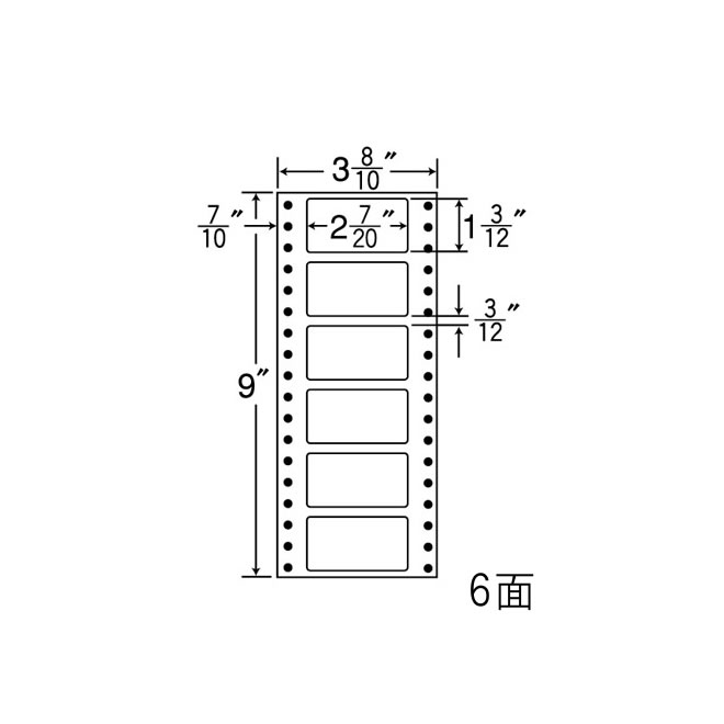 ナナフォーム ナナフォーム 連続ラベル Mタイプ 3(8・10)×9インチ 6面 (1500折) MM3AB 【送料無料】