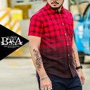 チェックシャツ メンズ 大きいサイズ バイカラー プリント 半袖 シャツ メンズファッション B系 ストリート系ファッション ヒップホップ ビッグサイズ ビックサイズ キングサイズ バスター 西海岸 韓国 レッド 赤 リゾート セレブ LEON系 レオン系 アメカジ