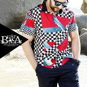 シャツ メンズ 大きいサイズ 半袖 シャツ メンズファッション 幾何学 ブロックチェック デザイン バイカラー プリント B系 ストリート系ファッション ヒップホップ ブラック 黒 ビッグサイズ ビックサイズ キングサイズ バスター ぽっちゃり 西海岸 韓国