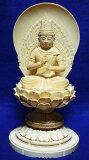 【真言宗】 仏像 総白木 ヒノキ 丸台座 大日如来 3.5寸