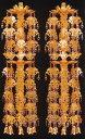輪灯瓔珞二重八段アルミ 金色 5.0号(1対入) / 仏具 ようらく ヨウラク